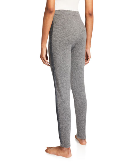 Neiman Marcus Cashmere Collection Cashmere Slim Pants w/ Metallic Stripe
