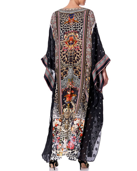 Camilla Printed Coverup Kaftan with Sheer Sleeves