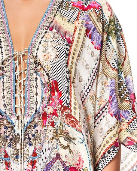 Camilla Short Lace-Up Printed Coverup Kaftan