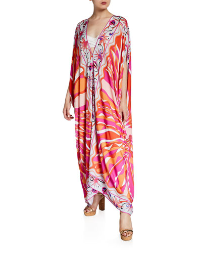 Printed V-Neck Long Kaftan Coverup