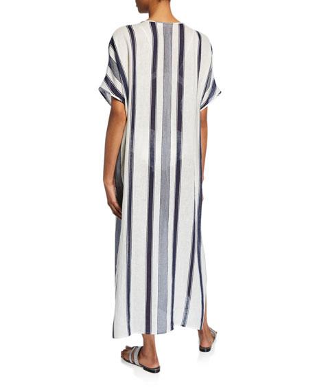 Tory Burch Awning Stripe Short-Sleeve Long Caftan