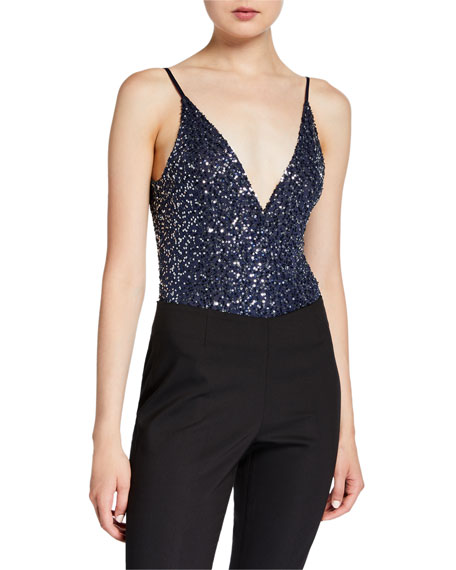 Jonathan Simkhai Speckled Sequined Cami Bodysuit