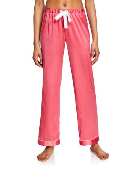 Morgan Lane Chantal Contrast-Trim Silk Pajama Pants