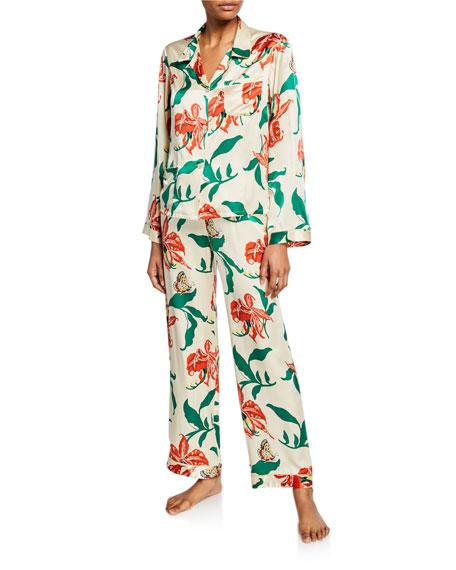 Morgan Lane Chantal Floral Silk Pajama Pants