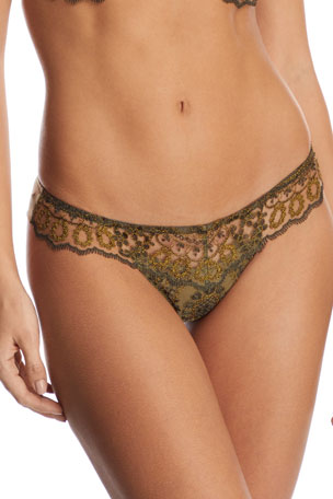 I.D. Sarrieri Golden Tulip Embroidered Thong