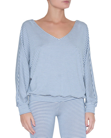 Eberjey Sadie Stripes Dolman-sleeve Top In Blue/white