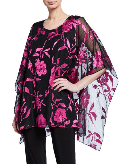 Caroline Rose Plus Size Sheer Floral Burnout Lined Drape-Sleeve Caftan