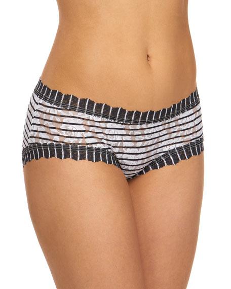 Hanky Panky Inside Out Stripe Signature Lace Girlkini Boy Shorts