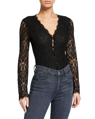 37bd06ab68e Jonathan Simkhai Long-Sleeve Lace Bodysuit