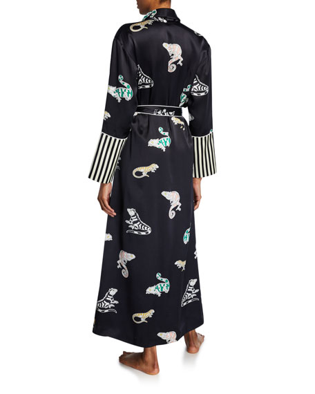 Olivia Von Halle Capability Chameleon Long Silk Robe