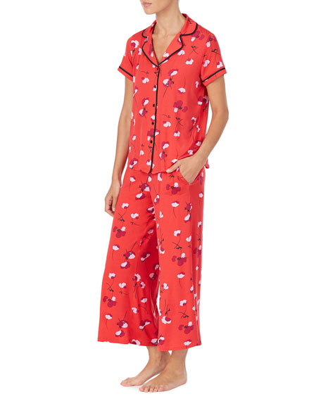 kate spade new york small poppies short-sleeve crop pajama set