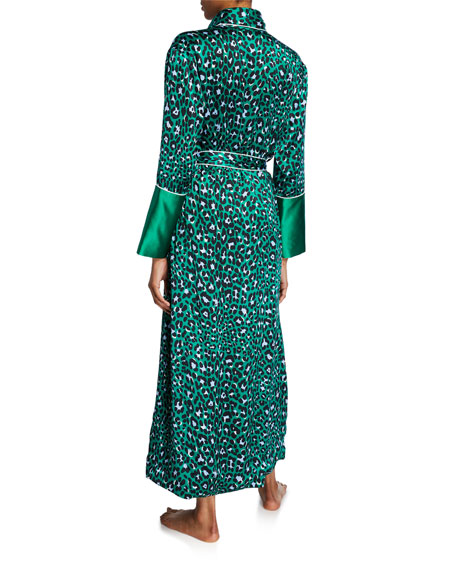 Olivia Von Halle Capability Danger Leopard-Print Long Silk Robe