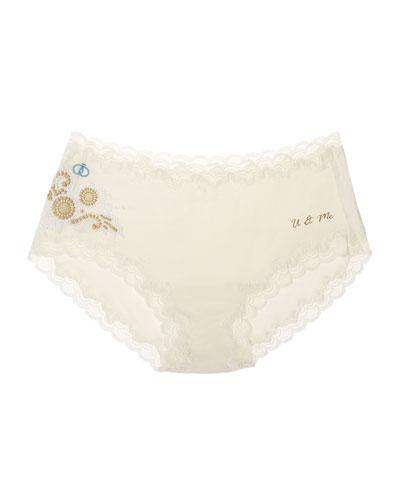Bridal Silks Lace-Trim Bikini Briefs