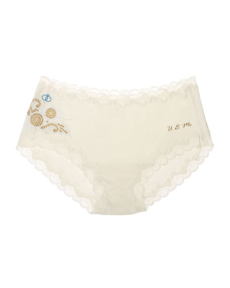 Uwila Warrior Bridal Silks Lace-Trim Bikini Briefs
