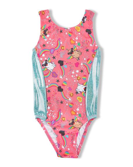 Girl Power Sport Perfect Fit Pugicorn Sparkle-Striped Leotard, Size 5-12