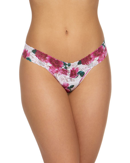 Hanky Panky Tops FLORAL LACE LOW-RISE THONG