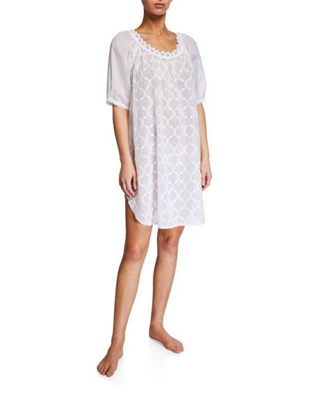 Celestine Elaine Lattice-Pattern Babydoll Nightgown