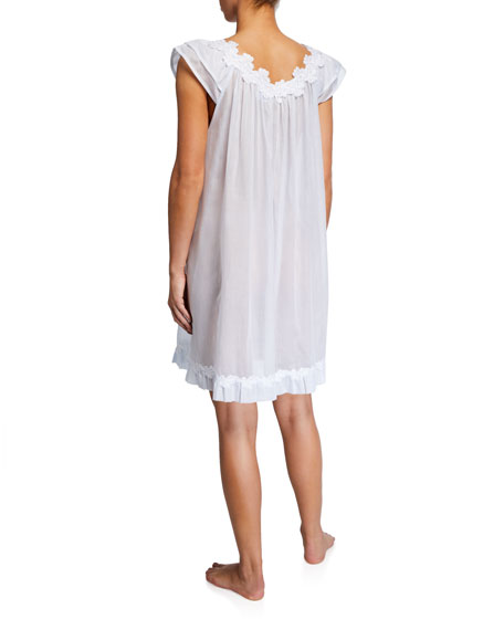 Celestine Palace Cap-Sleeve Poplin Nightgown
