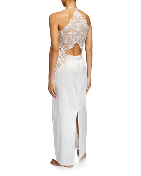 La Perla Exotique Lace-Inset Silk Nightgown