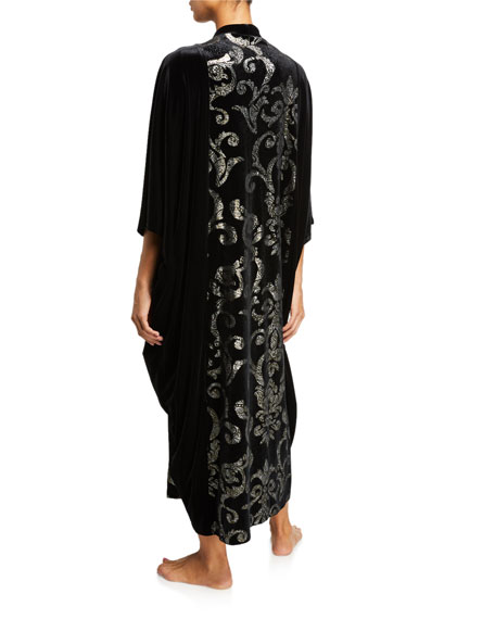 Diamond Tea Gown Damask-Panel Velvet Zip-Front Caftan