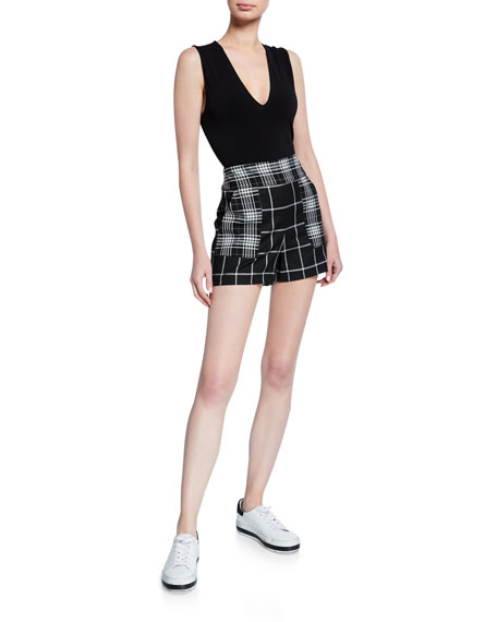 Alice + Olivia Marley V-Neck Sleeveless Thong Bodysuit