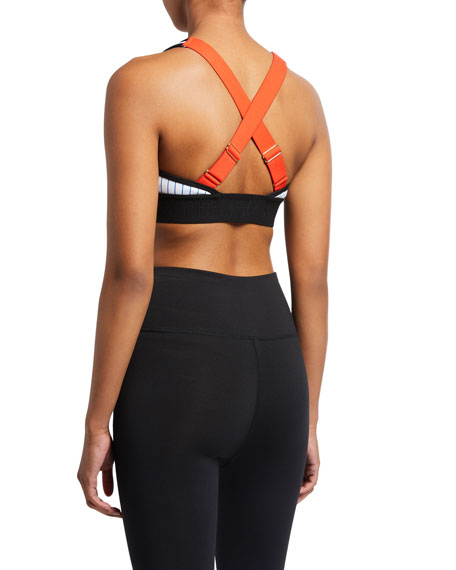 PE Nation Bodywork Striped Sports Bra