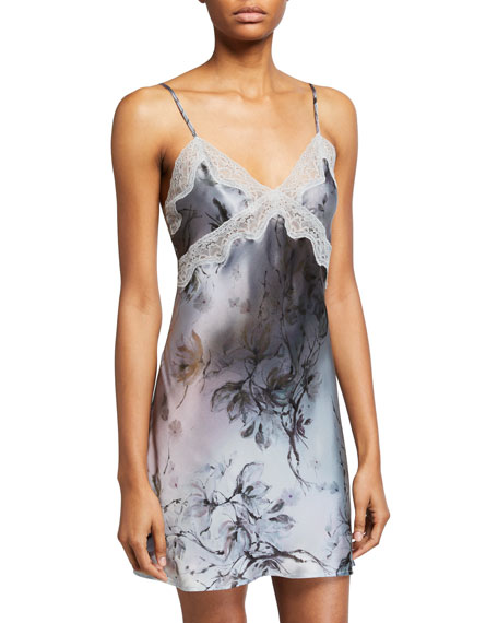 Samantha Chang Floral-Print Classic Lace-Trim Chemise