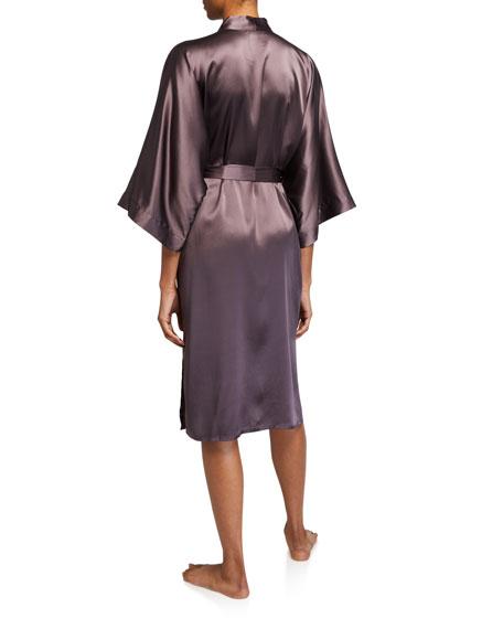 Samantha Chang Solid Charmeuse Long Kimono Robe