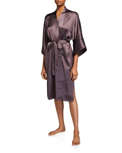 Solid Charmeuse Long Kimono Robe