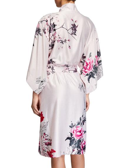 Natori Nikko Floral-Print Satin Robe