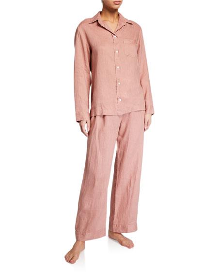 Pour Les Femmes Linen Classic Pajama Set