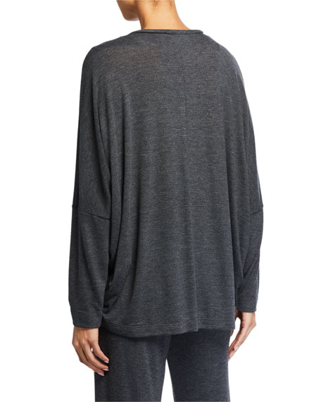 Josie Natori Kara V-Neck Long-Sleeve Lounge Top