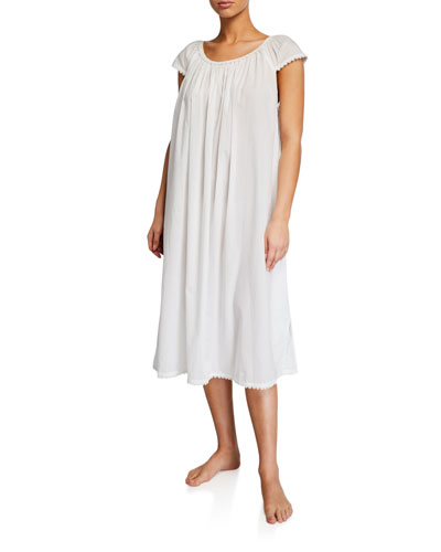 Long Lawn Cap-Sleeve Nightgown