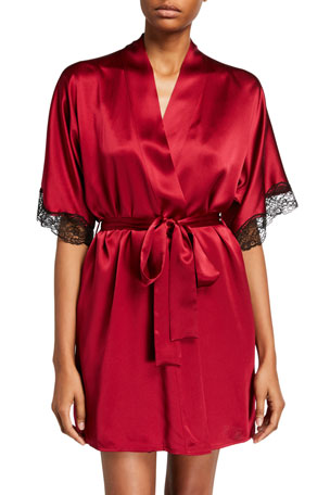 Christine Lingerie Bijoux Silk Short Robe w/ Lace Trim