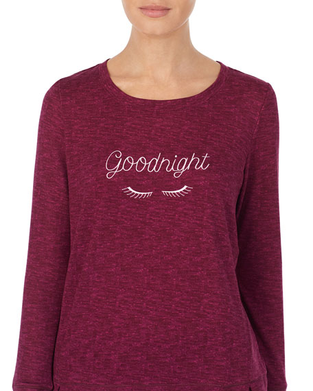 kate spade new york goodnight embroidered sweater-knit pajama set