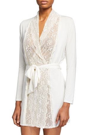 Samantha Chang Lace-Front Robe