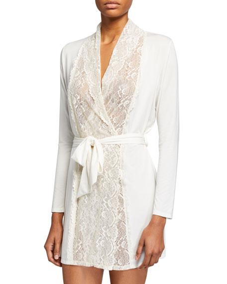 Samantha Chang Lace-Front Robe