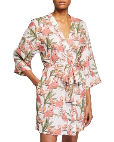 Lola Flamingo-Print Wrap Robe