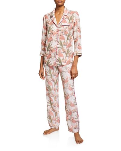 Emma Classic Flamingo-Print Pajama Set