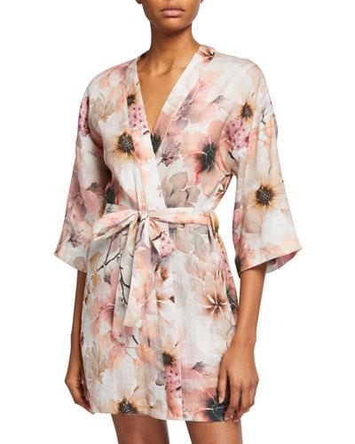 Lola Floral-Print Wrap Robe