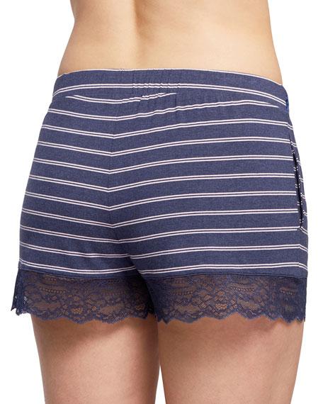 Fleur't Striped Modern Lounge Shorts with Lace Hem