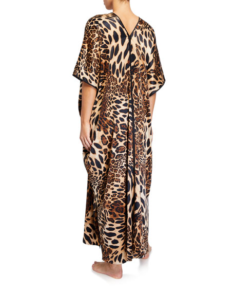 Natori Plus Size Luxe Leopard Satin Caftan