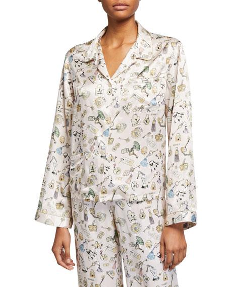 Morgan Lane Ruthie Lock-Print Pajama Top