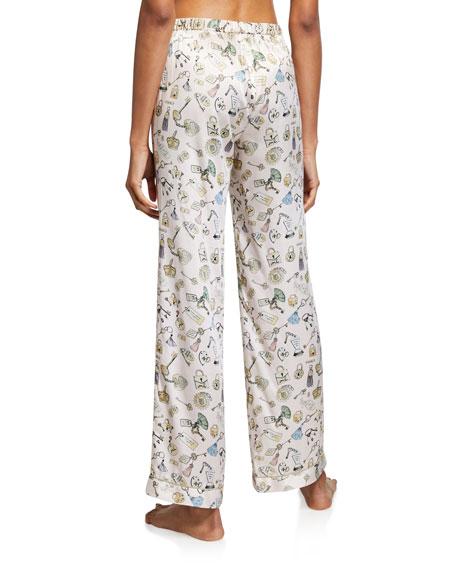 Morgan Lane Chantal Lock-Print Silk Pajama Pants