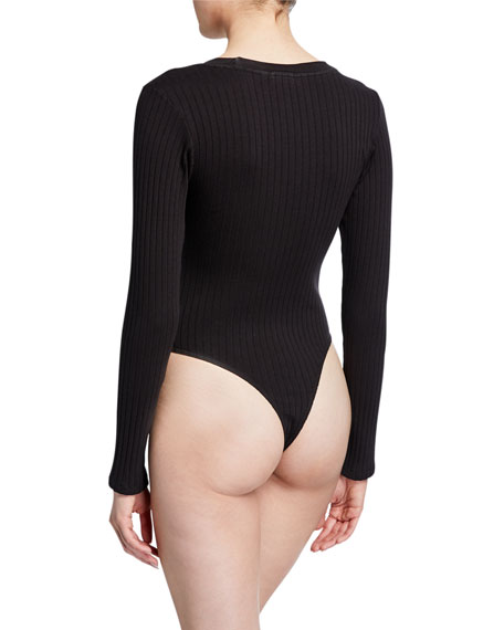RE/DONE Ribbed Long-Sleeve Bodysuit