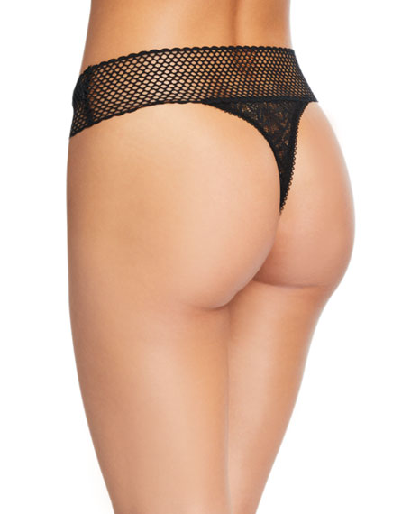 Else Arya Fishnet-Trim Lace Thong