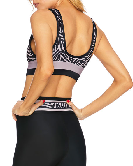 Beach Riot Poppy Zebra-Print Medium-Impact Sports Bra Top