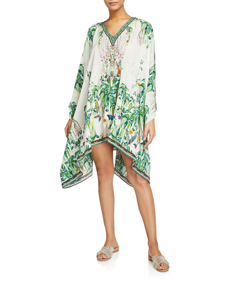 Camilla SPLIT-SHOULDER PRINTED SHORT KAFTAN