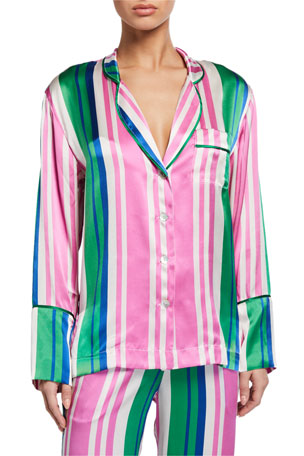 Hesper Fox Evie Striped Silk Pajama Shirt