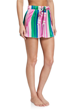 Hesper Fox Gigi Striped Silk Shorts